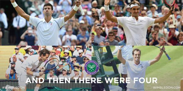 Roger Federer, Novak Djokovic, Richard Gasquet e Andy Murray: a final está mesmo ali