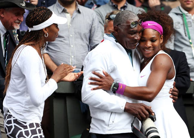 Serena Williams com o seu pai, Richard