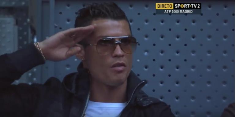 [Fotos e vídeo] Cristiano Ronaldo não passou despercebido no encontro de João Sousa