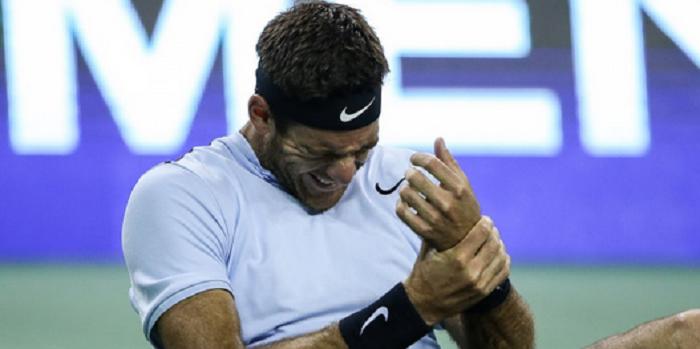 DIAGNÓSTICO. Del Potro tem contusão no pulso e meia-final com Federer pode não acontecer
