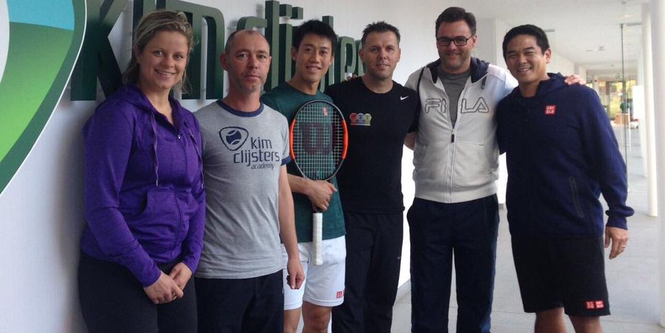 Nishikori despede-se da Academia de Clijsters e ela retribui: «Obrigado a ti por seres tão bom para toda a gente»