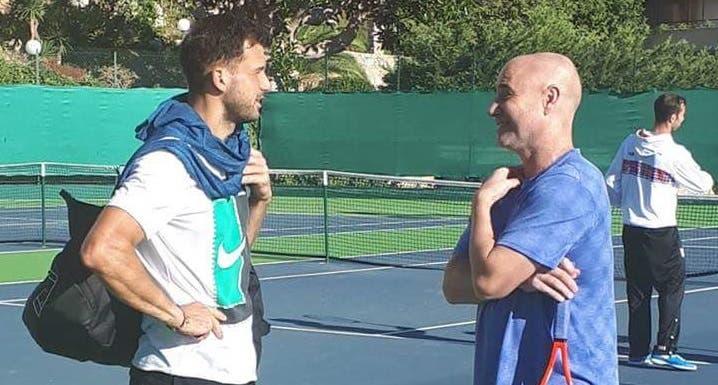 [FOTO] Grigor Dimitrov encontrou-se com… Andre Agassi em Monte Carlo