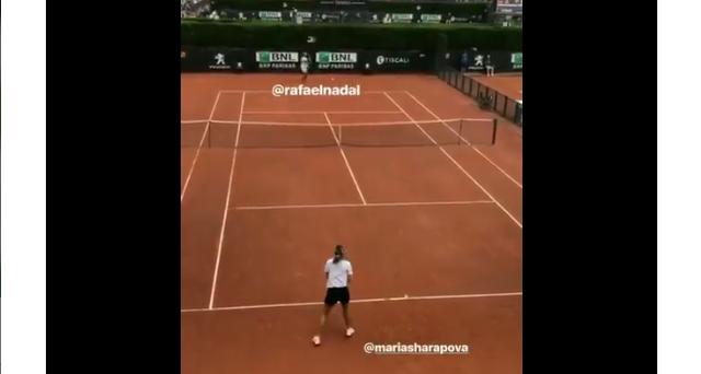 [VÍDEO] Rafael Nadal treinou em Roma… com Maria Sharapova