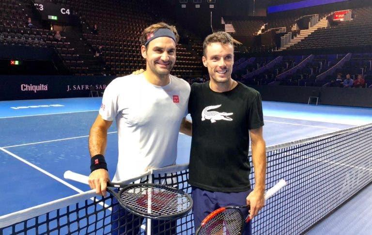 Federer faz primeiro treino em Basileia com Bautista Agut