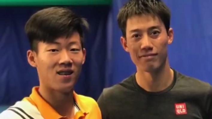 Jason Tseng, n.º 1 mundial de juniores, cumpriu o sonho de treinar com o ídolo… Nishikori