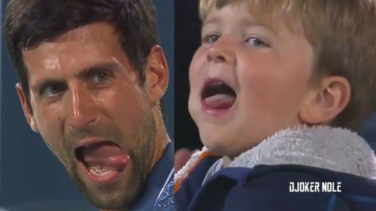Momento de cumplicidade entre Djokovic e o seu filho durante a final