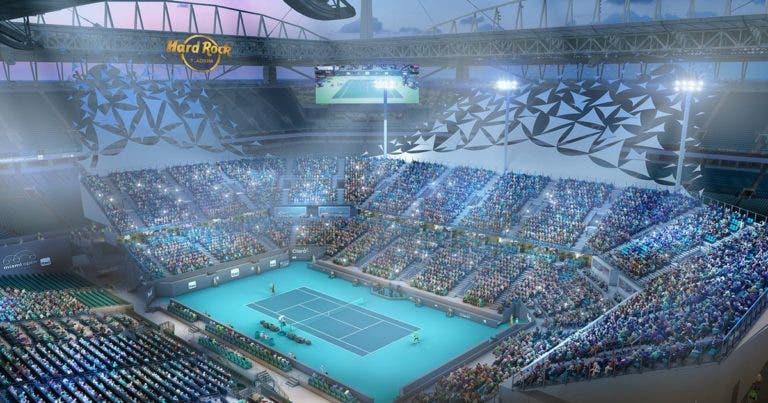 O luxuoso court central do Miami Open com ecrãs na bancada