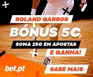 Bonus 5€ Bet.pt! Roland Garros