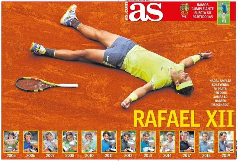 Coverboy. Imprensa totalmente rendida a Rafael Nadal