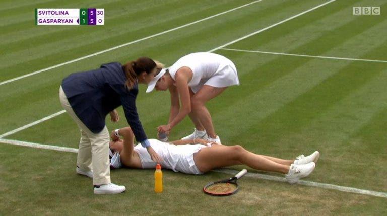 Svitolina esteve a dois pontos da derrota mas viu rival desistir