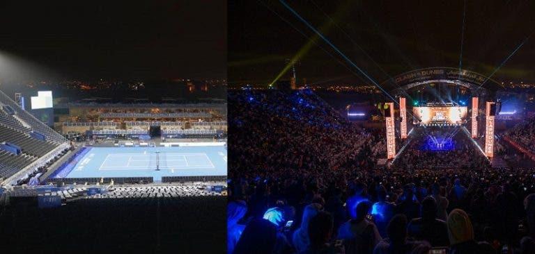 [FOTOS] Arábia Saudita transforma ringue de boxe num court de ténis em 72 horas