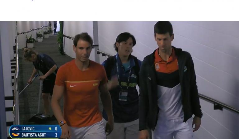 [VÍDEO] Nadal e Djokovic foram juntos iniciar a preparação para o duelo entre ambos