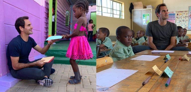 Federer passou pela Namíbia para fazer a diferença na vida de crianças