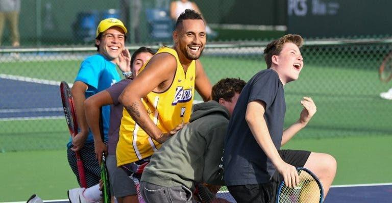 Kyrgios surpreendeu fãs durante um treino em Indian Wells