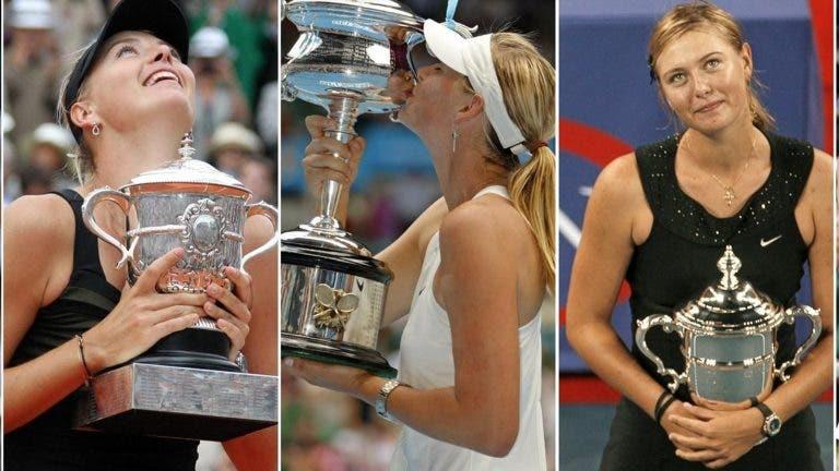 Sharapova celebra 33 anos: relembre os seus cinco títulos de Grand Slam