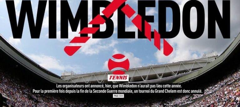 'L'Equipe' dedica primeira página ao cancelamento de Wimbledon
