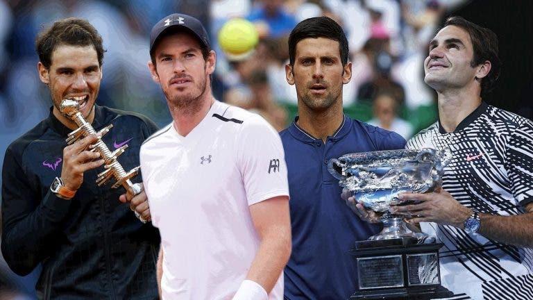 [FOTOS] Como envelheceram Federer, Nadal, Djokovic e Murray?