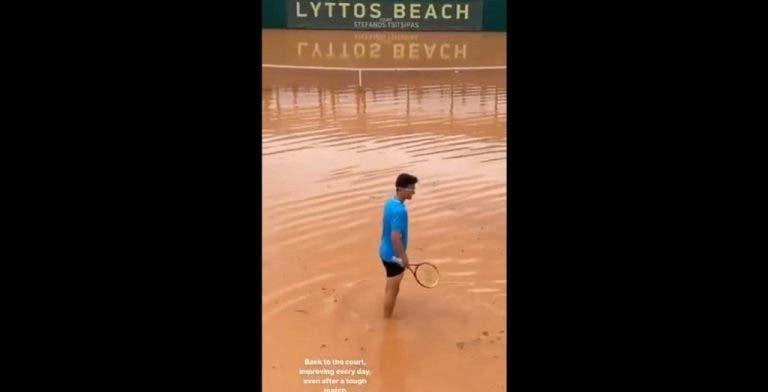 [VÍDEO] Irmão de Tsitsipas 'treina' em court completamente alagado