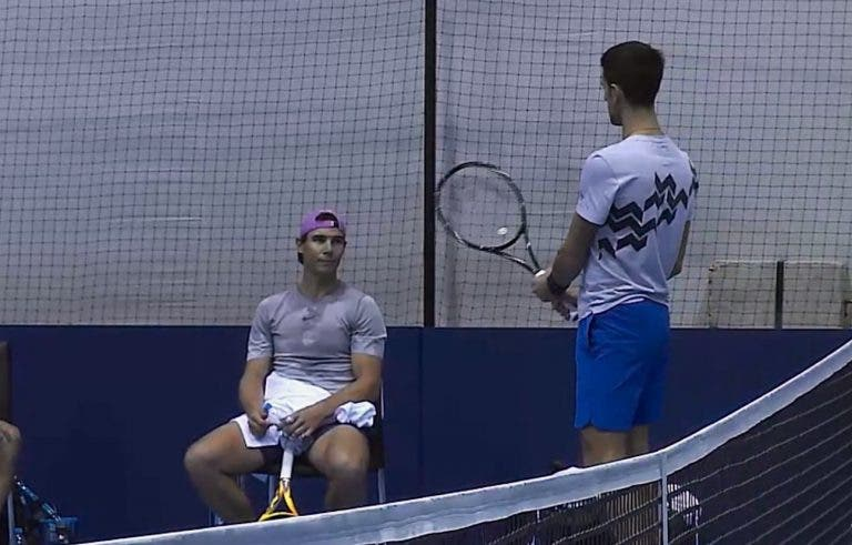 Primeiro treino de Nadal em Londres foi com Djokovic (!)