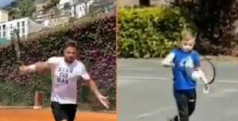 [VÍDEO] Criança imita esquerda de Wawrinka e o suíço reage