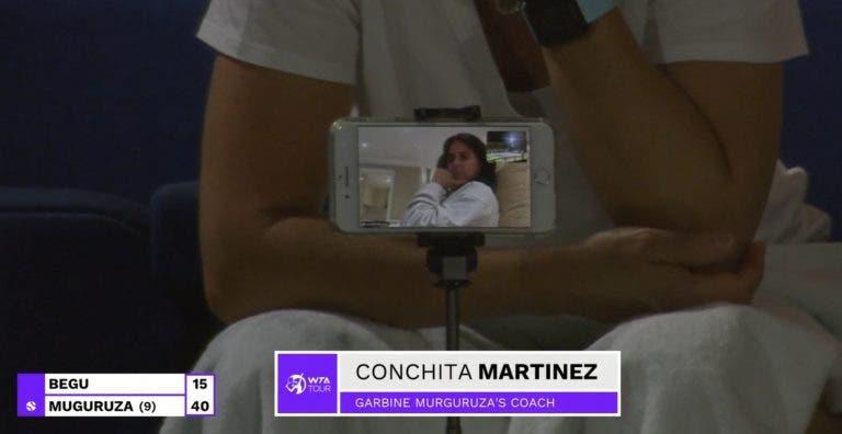 Fechada no quarto com Covid-19? Conchita Martínez está no court de forma original