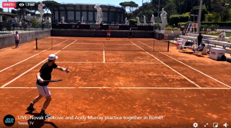 [VÍDEO] Djokovic e Murray treinaram em Roma e até partiram uma bola