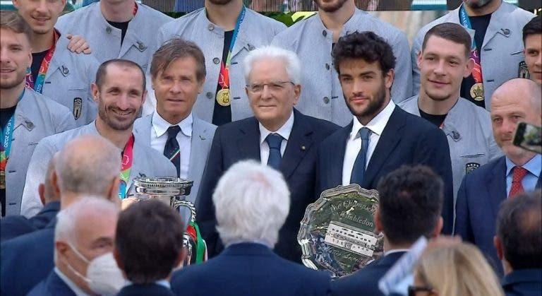 Berrettini homenageado em Itália juntamente com os campeões europeus de futebol
