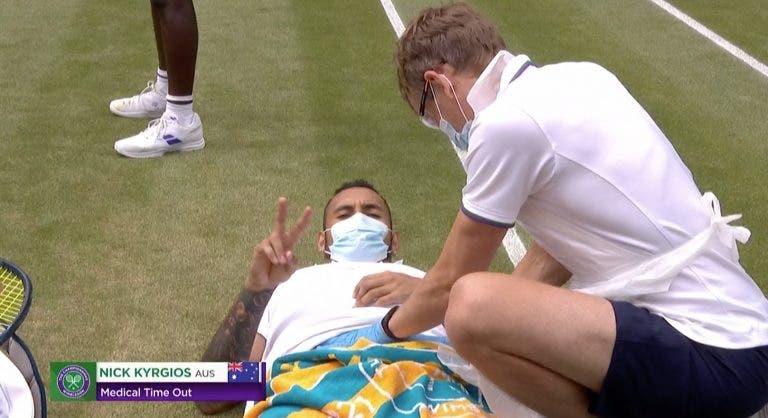 Kyrgios lesiona-se na zona abdominal e desiste durante encontro em Wimbledon