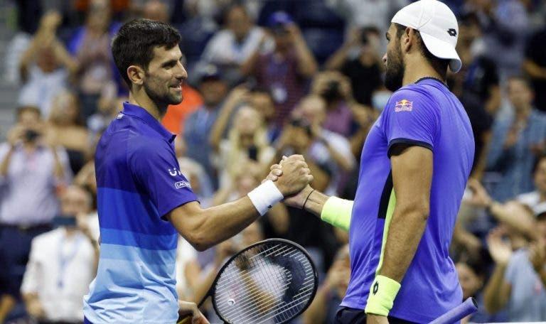 Berrettini sem palavras: «Não importa o quão bem eu jogo, o Djokovic é sempre melhor»